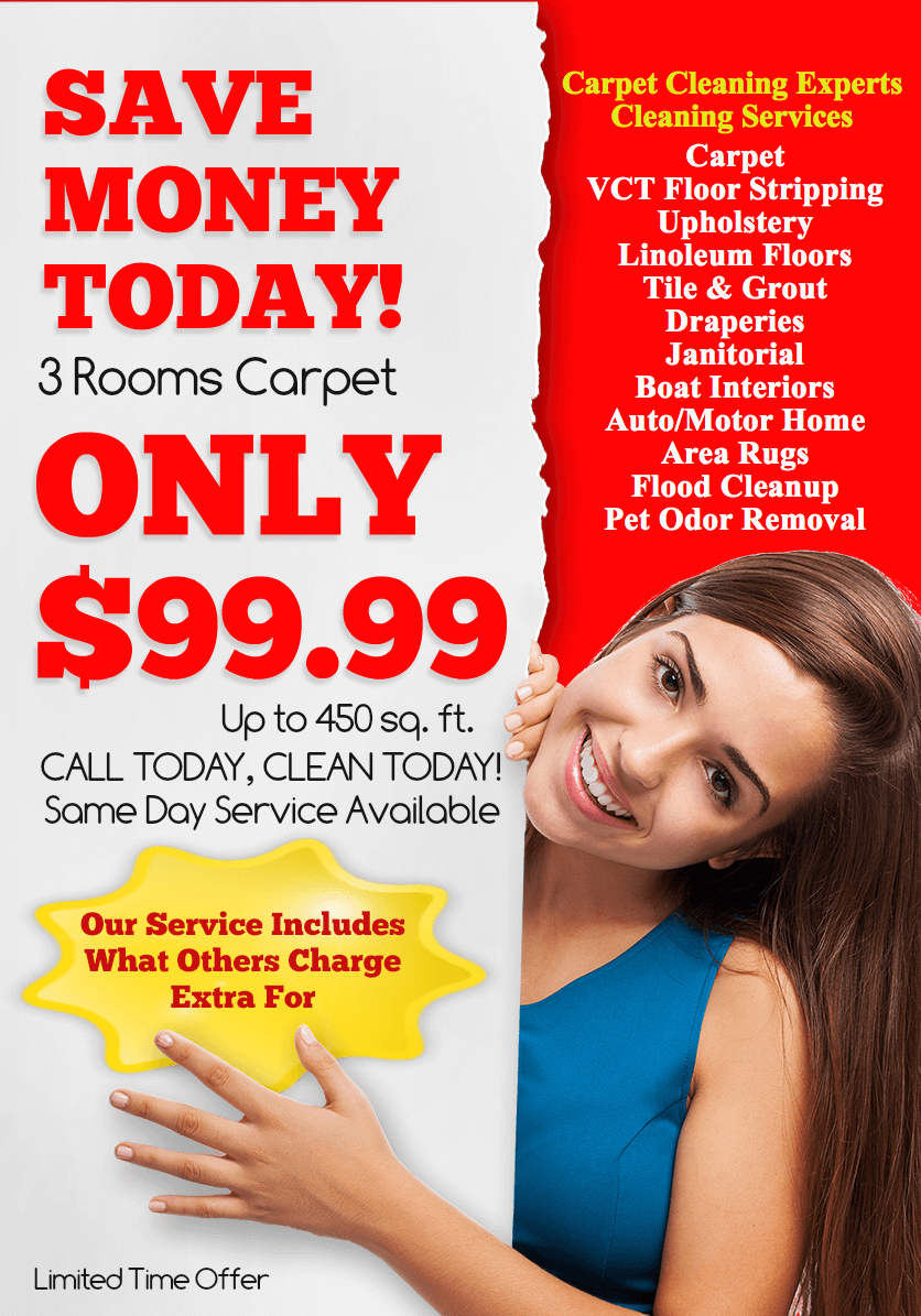 Boston MA Carpet Cleaners  3 Rooms $99.99. Free estimates. Call 800-479-1204